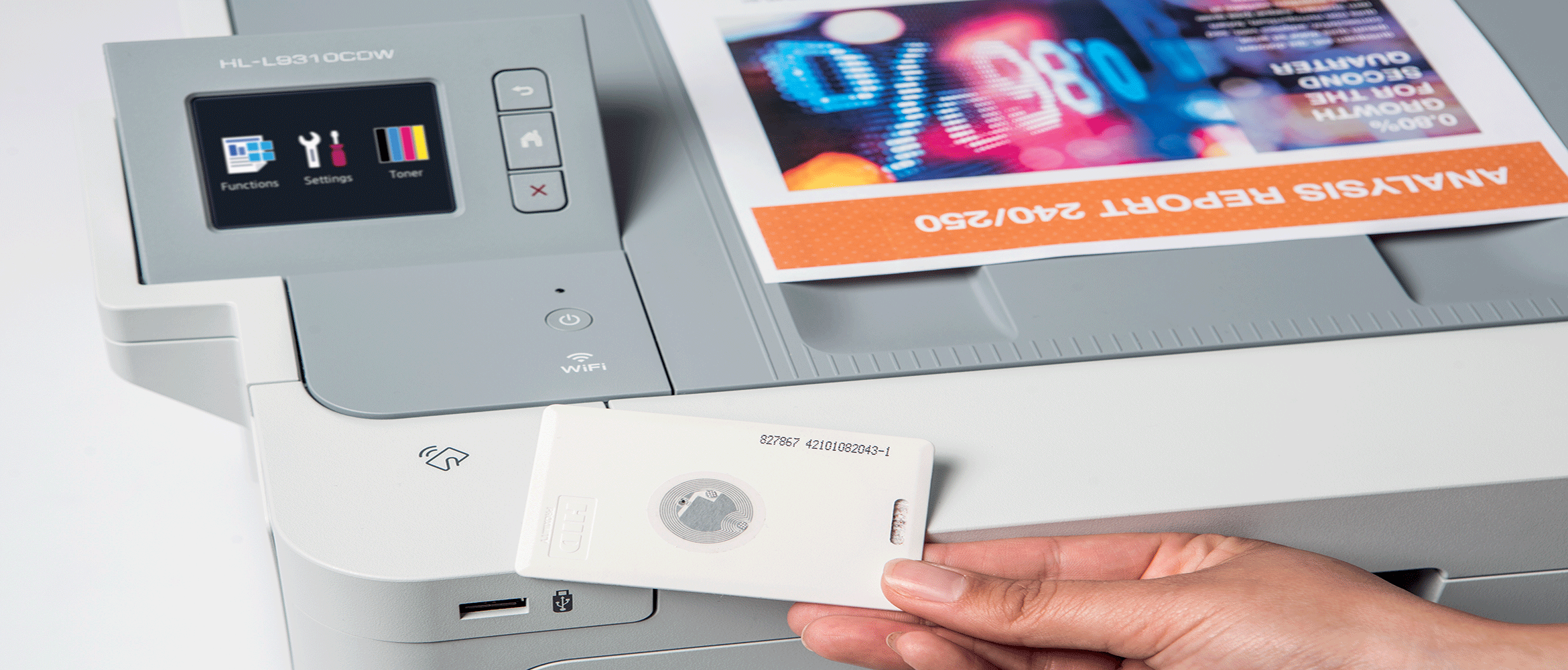 The pull printing feature being used on the Brother HL-L9310CDW in order to release a document