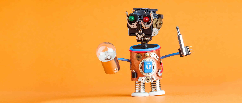 robot engineer fixing a light bulb