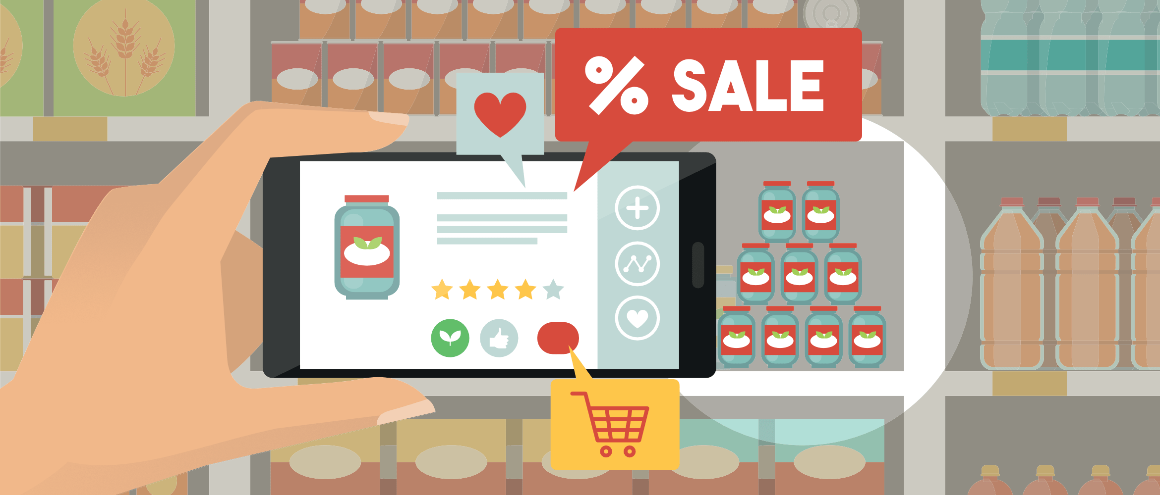 illustration of a shopper using a smartphone to detect sale items on shelves using augmented reality
