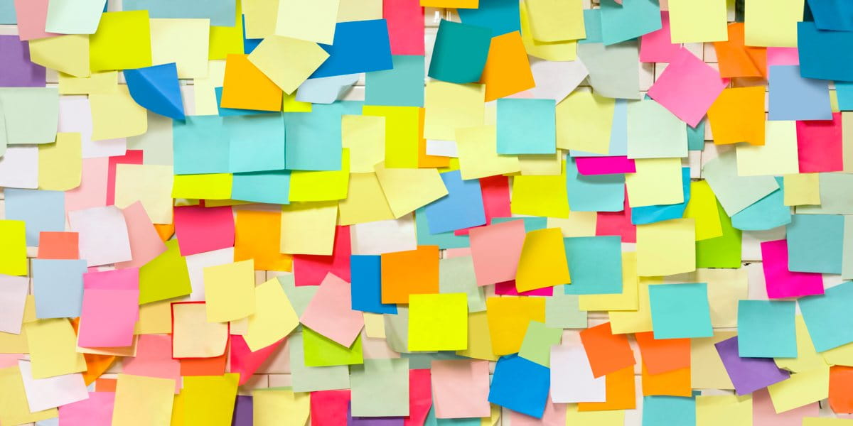 wall covered in brightly coloured post-it notes