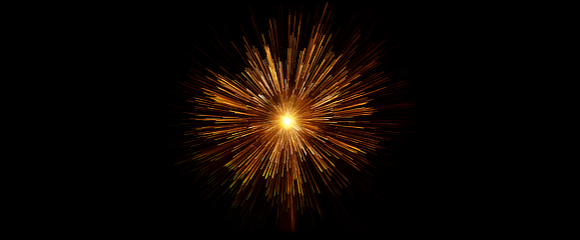 Orange firework on a black background