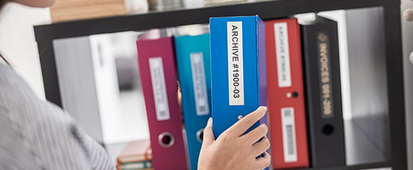 Brother tapes and labels helping to organise office enviroments including filing cabinets
