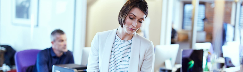 woman looking at printout