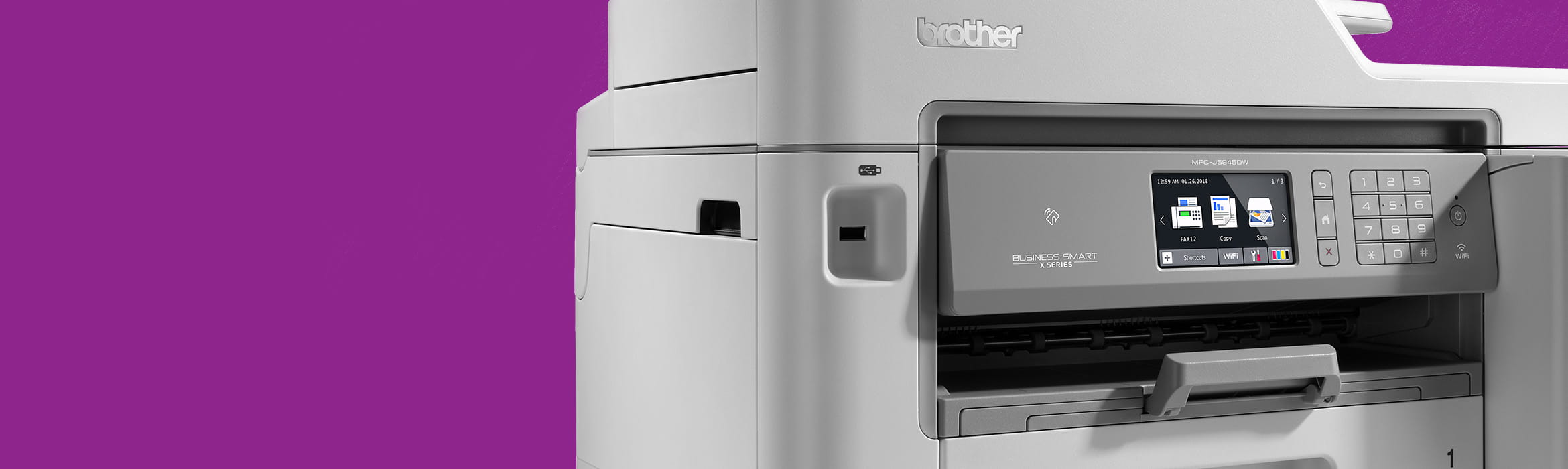 Brother X-Series inkjet printer on purple background