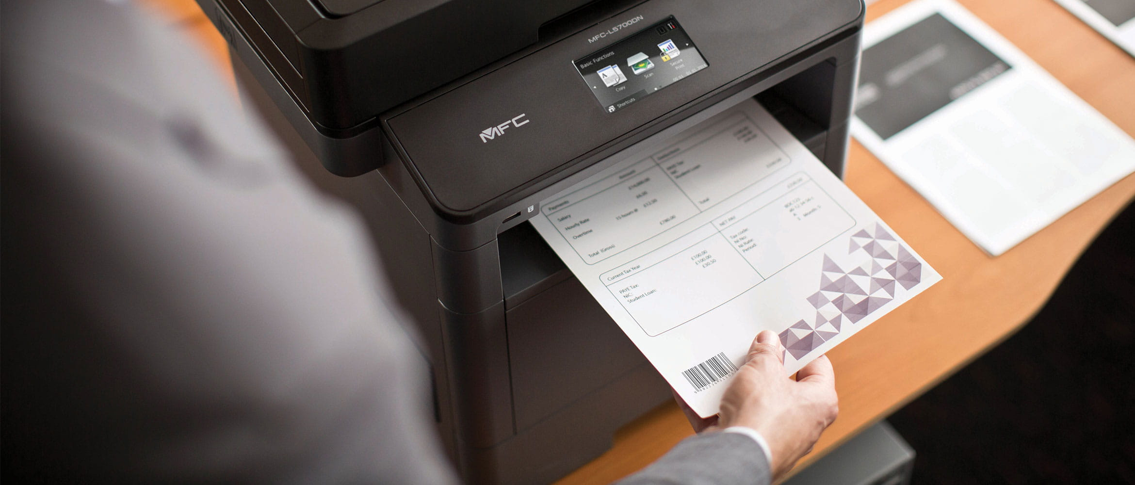 MFC-L5700DN Mono laser printer printing document with barcode
