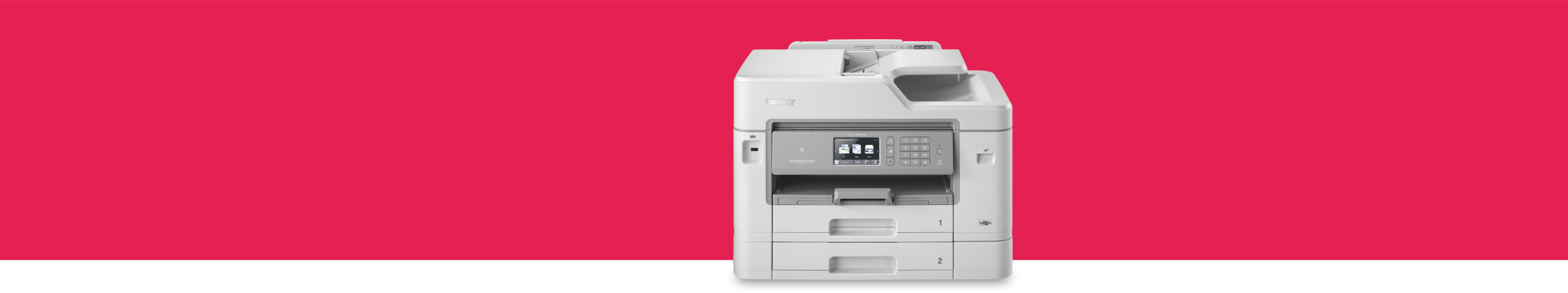 inkjet printer on a red backdrop