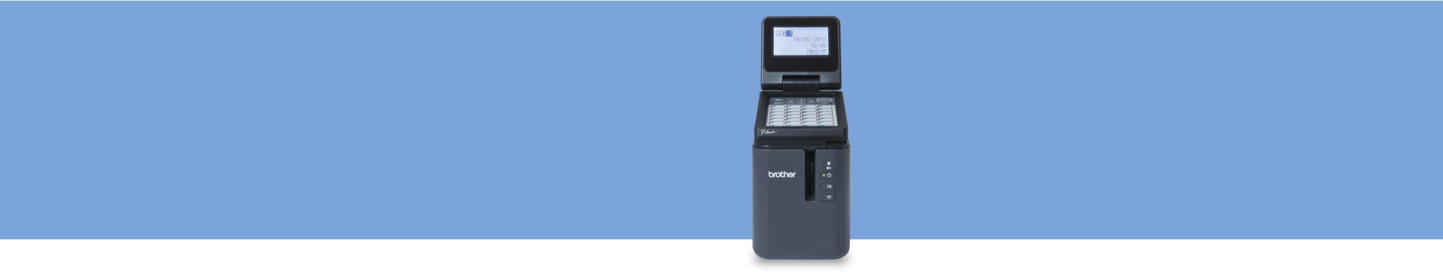 office and industrial labeller on a blue background