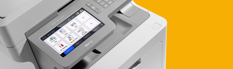 colour laser printer on an orange background
