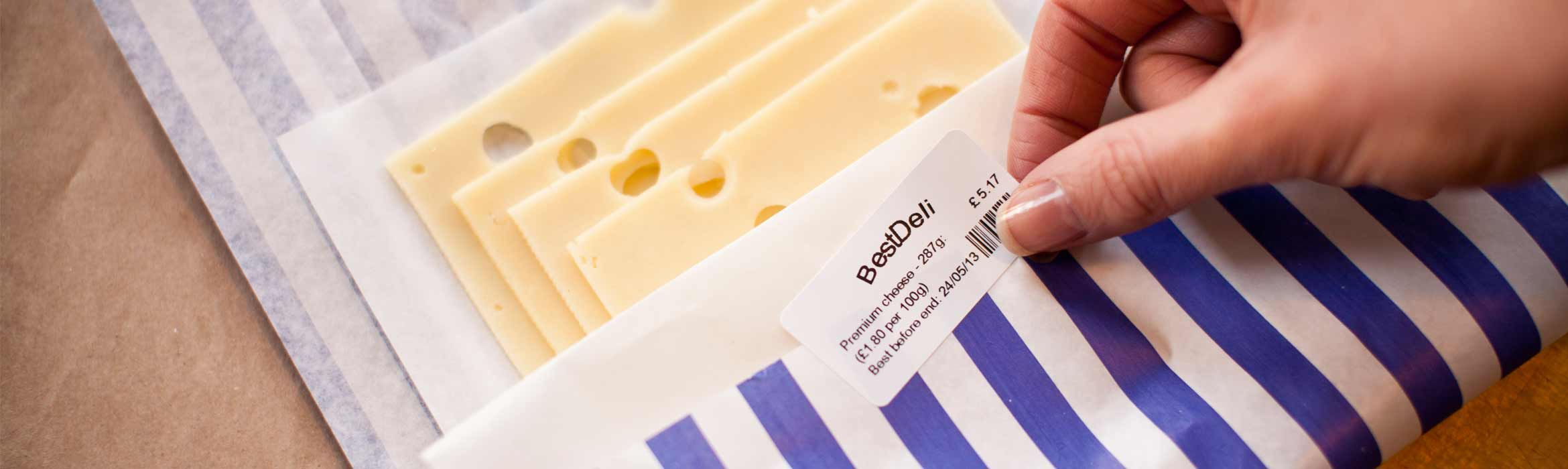 Labelling a pack of cheese