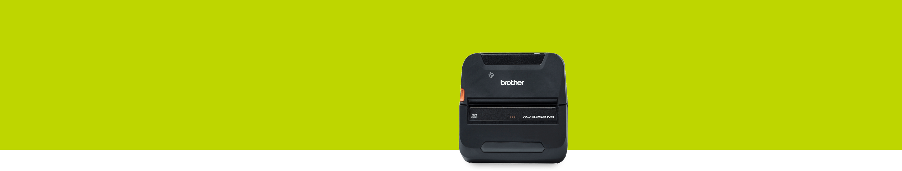 Brother RJ-4250WB rugged portable printer on green background