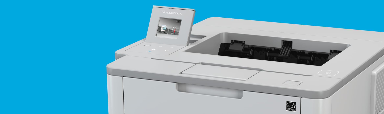 printer against a blue backdrop