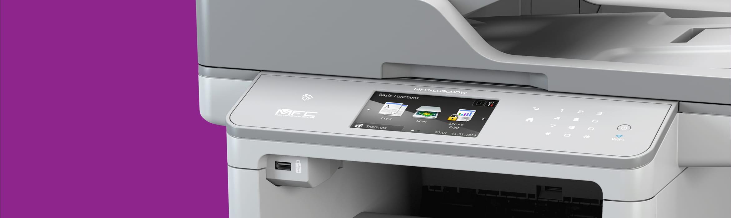 mono laser printer on a purple backdrop