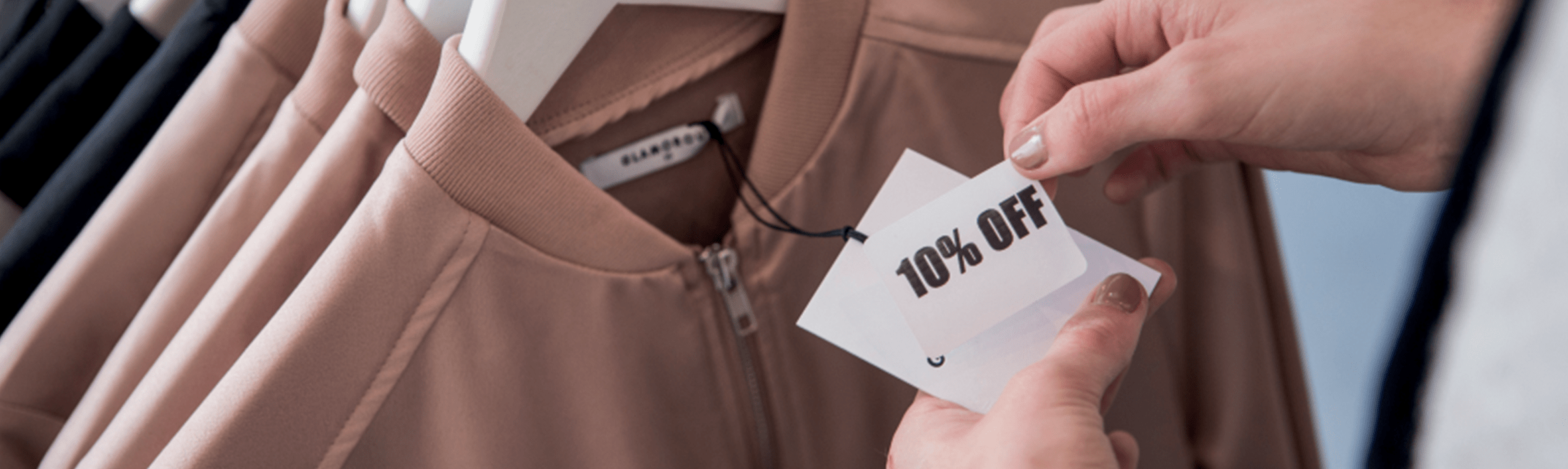 10 percent off tag on item of clothing