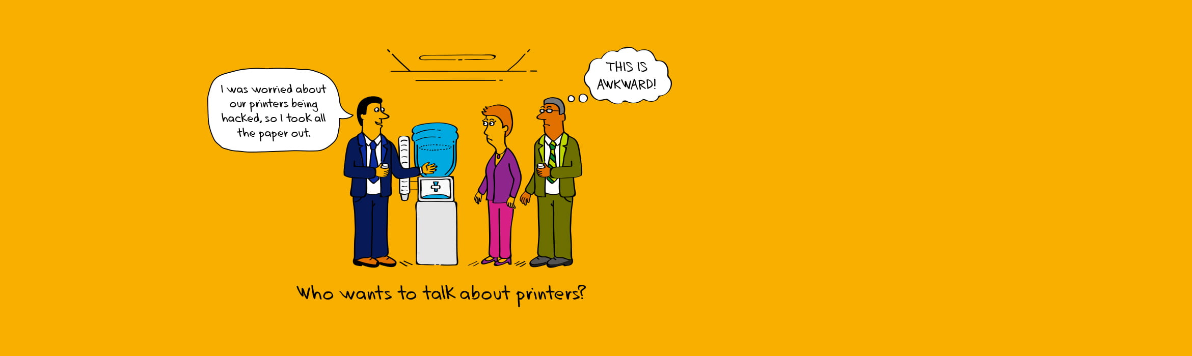 Illustration of an awkward print office situation