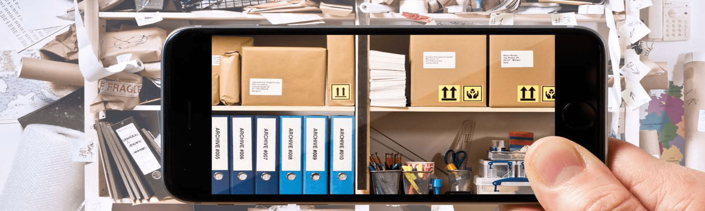 Smartphone shows organised labelled office