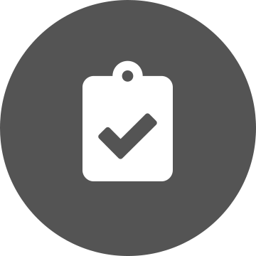 White clipboard with a grey tick on a grey circle background