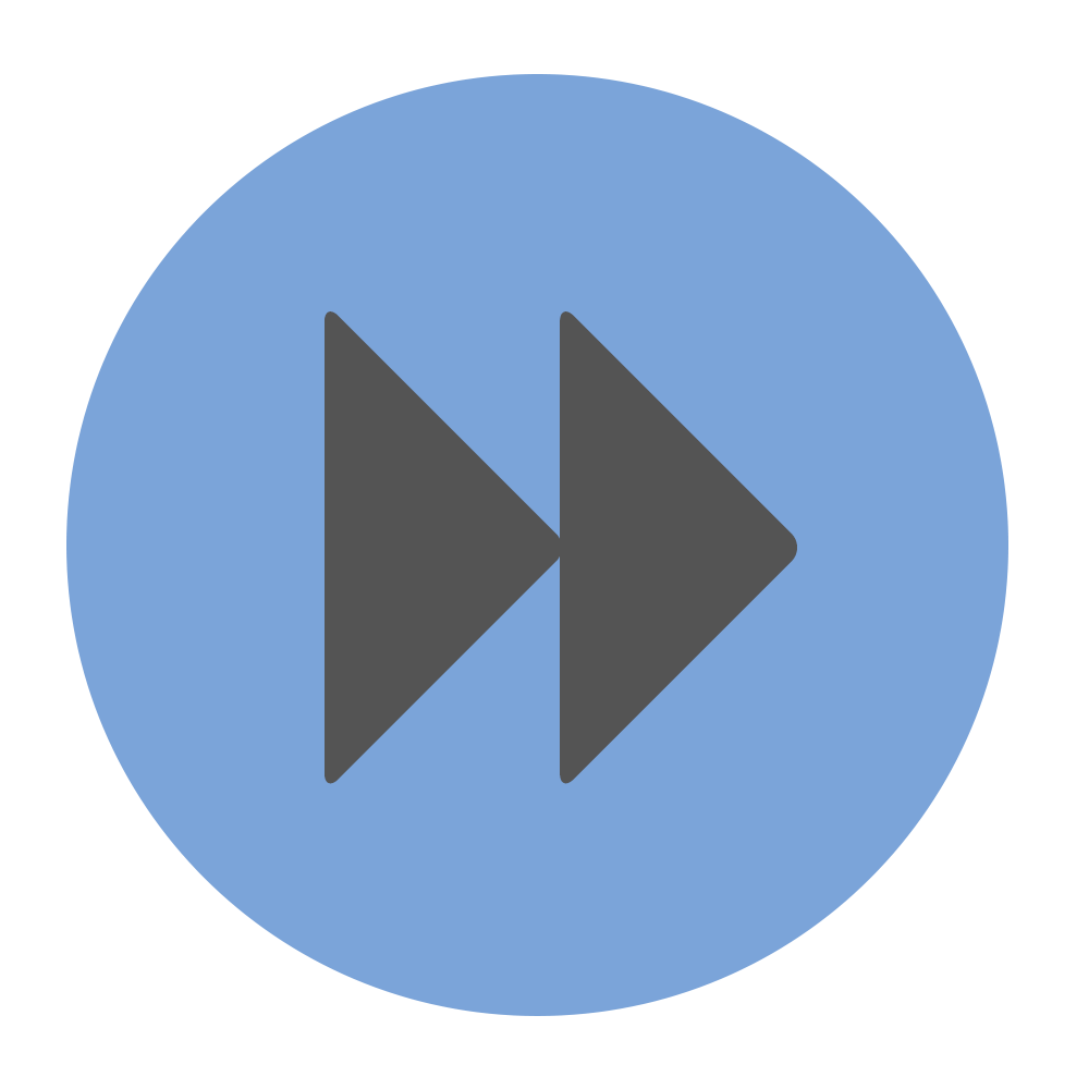 Fast forward icon on blue background