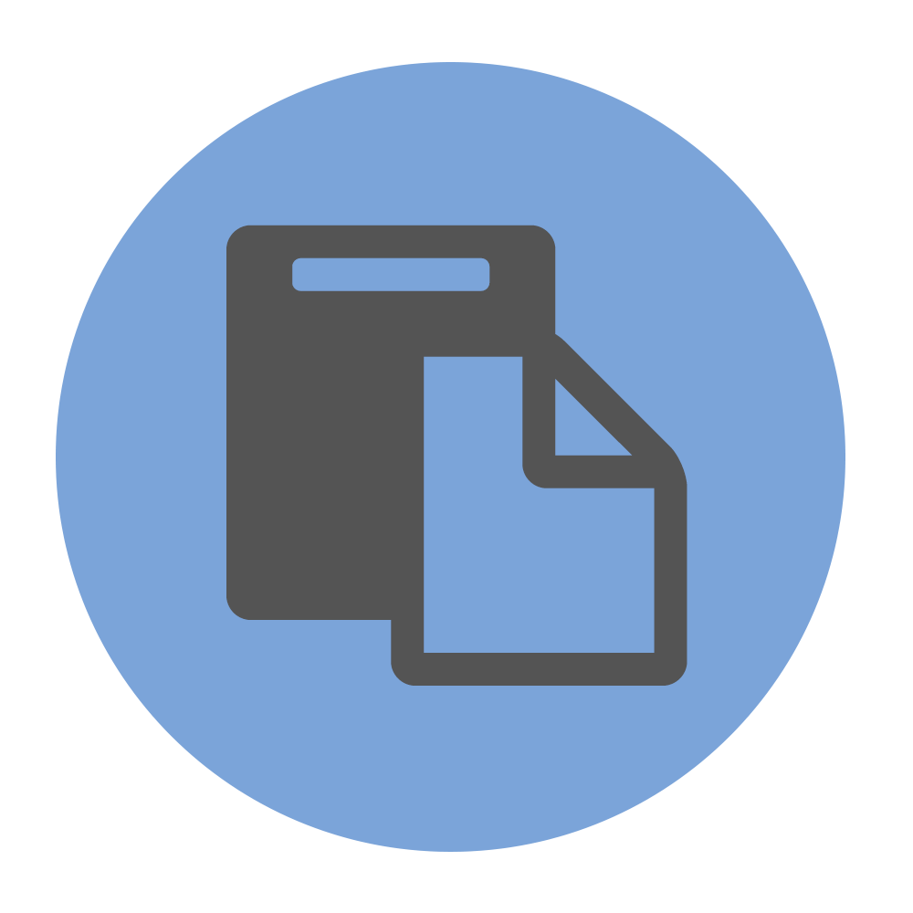 Professional print icon on blue background