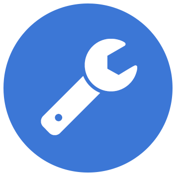 spanner icon on blue background