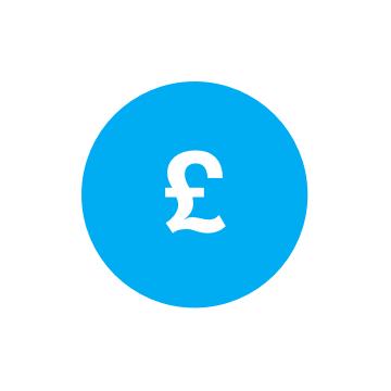 Pound sign on blue background logo