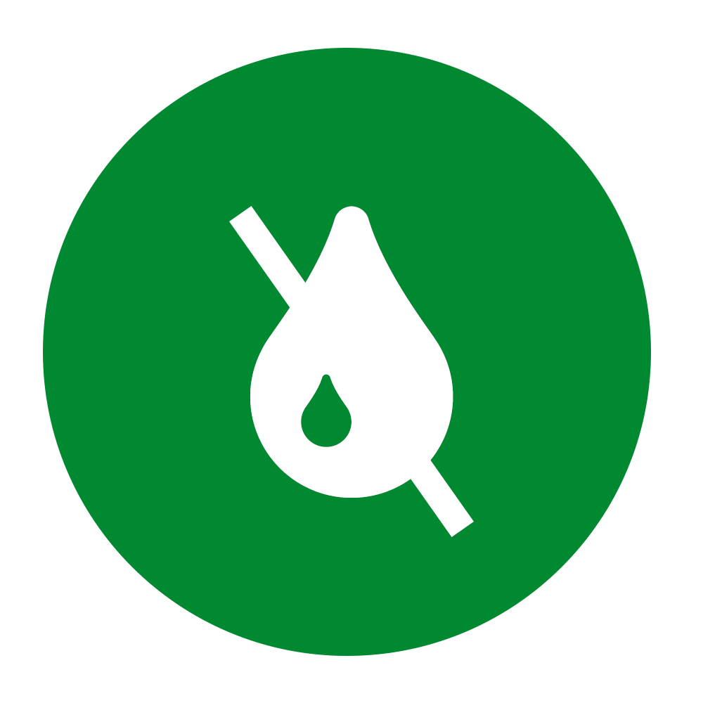 No ink icon on green background
