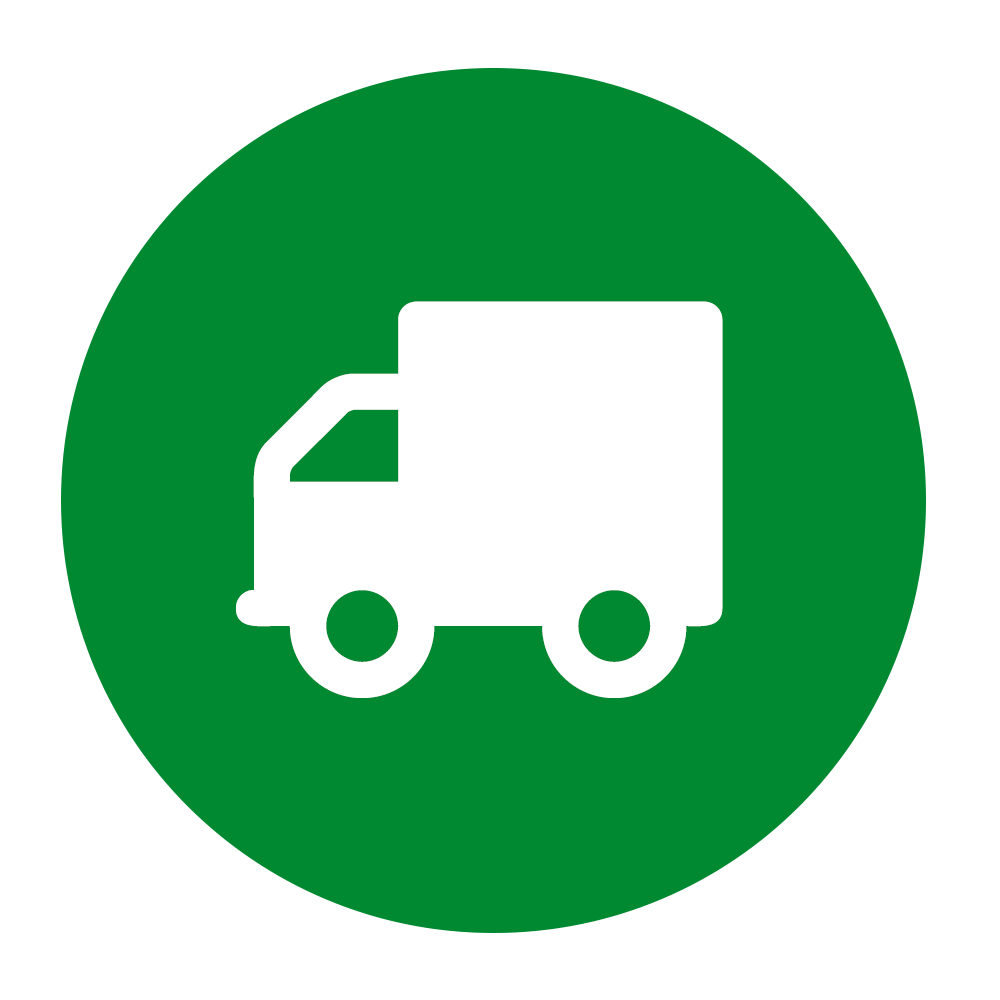 Lorry icon on green background to illustrate print on the go