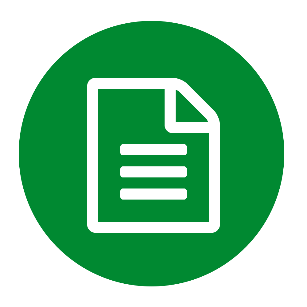 Document icon on green background to illustrate paper sizes up to A4
