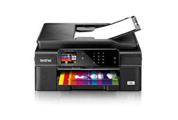 Brother printer with document face-down in input tray and colour document in output tray