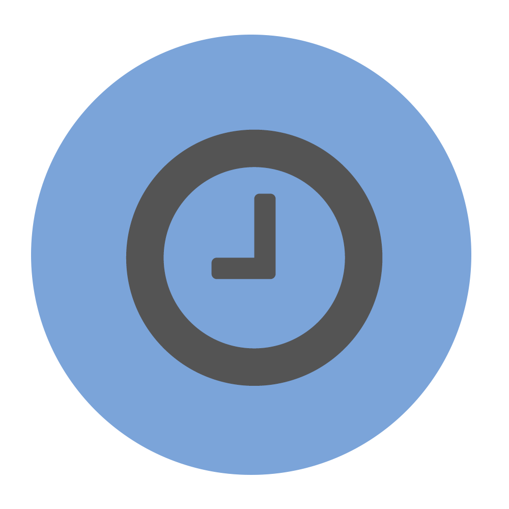 Reduce admin time icon on blue background