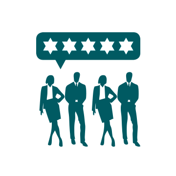 Icon of four people and four stars to illustrate a review