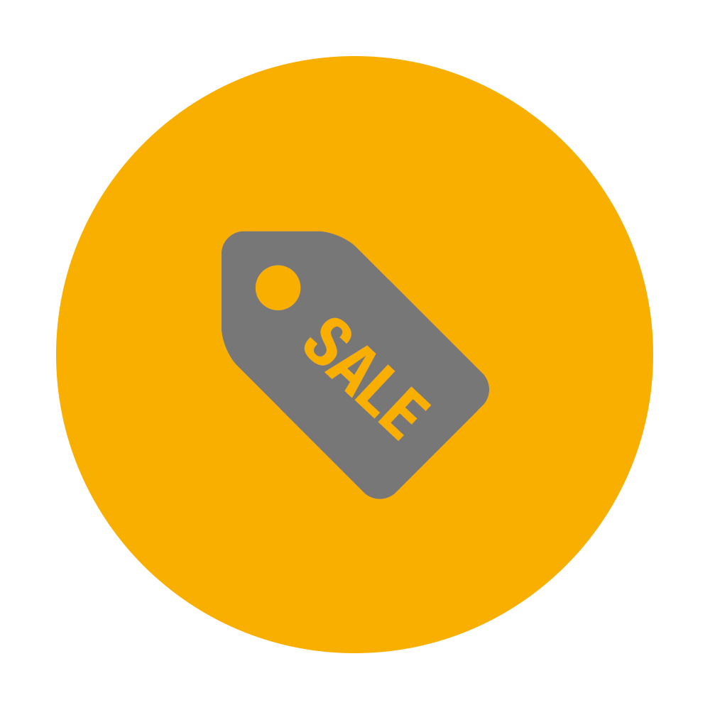 Sale ticket icon on yellow background