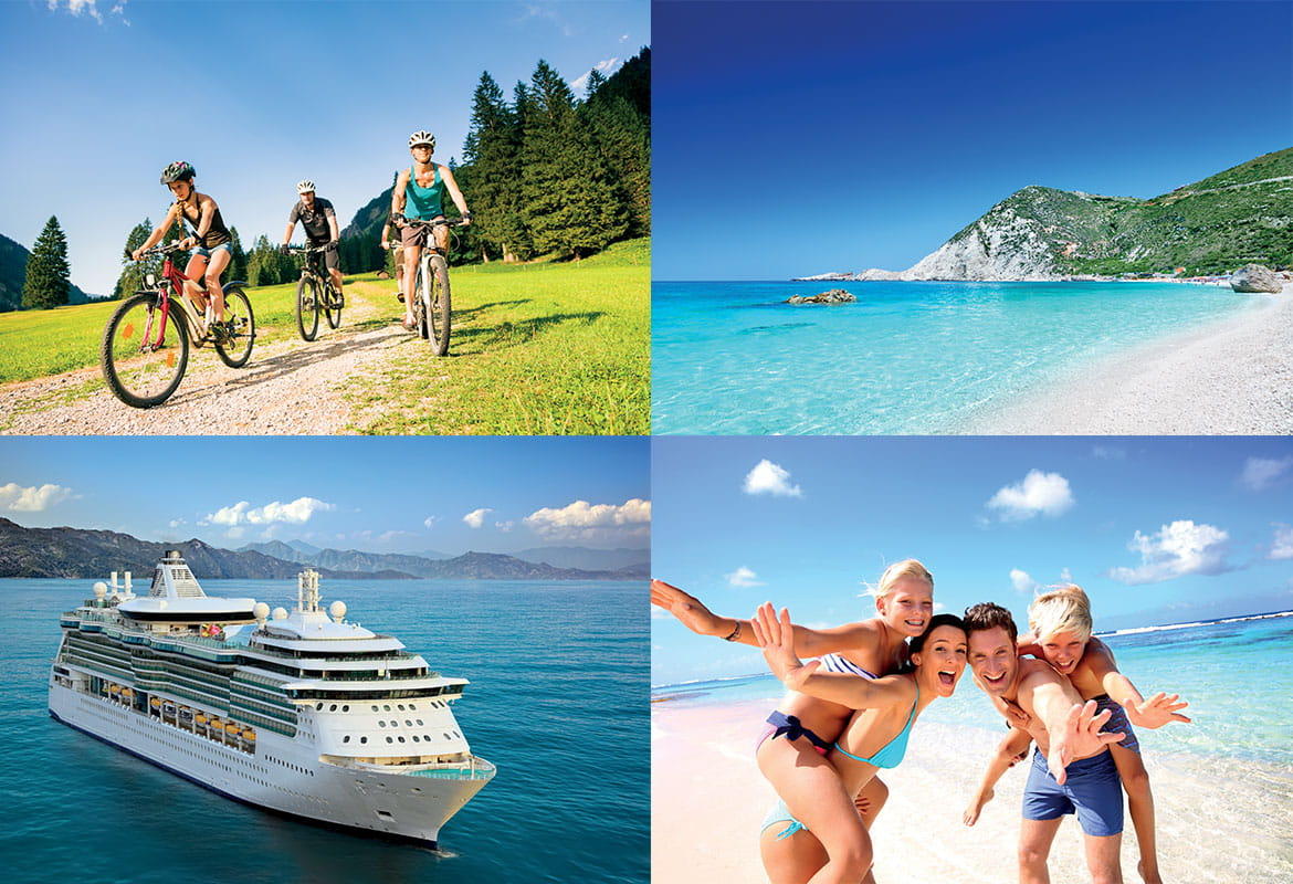 Tiled design of four holiday destinations, including a cycling holiday, beach location, cruise and family on a beach.