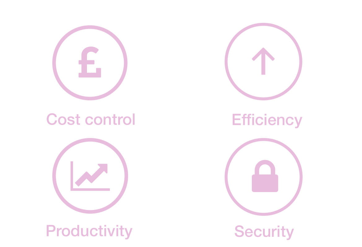 Icons for productivity, security, efficiency and cost control