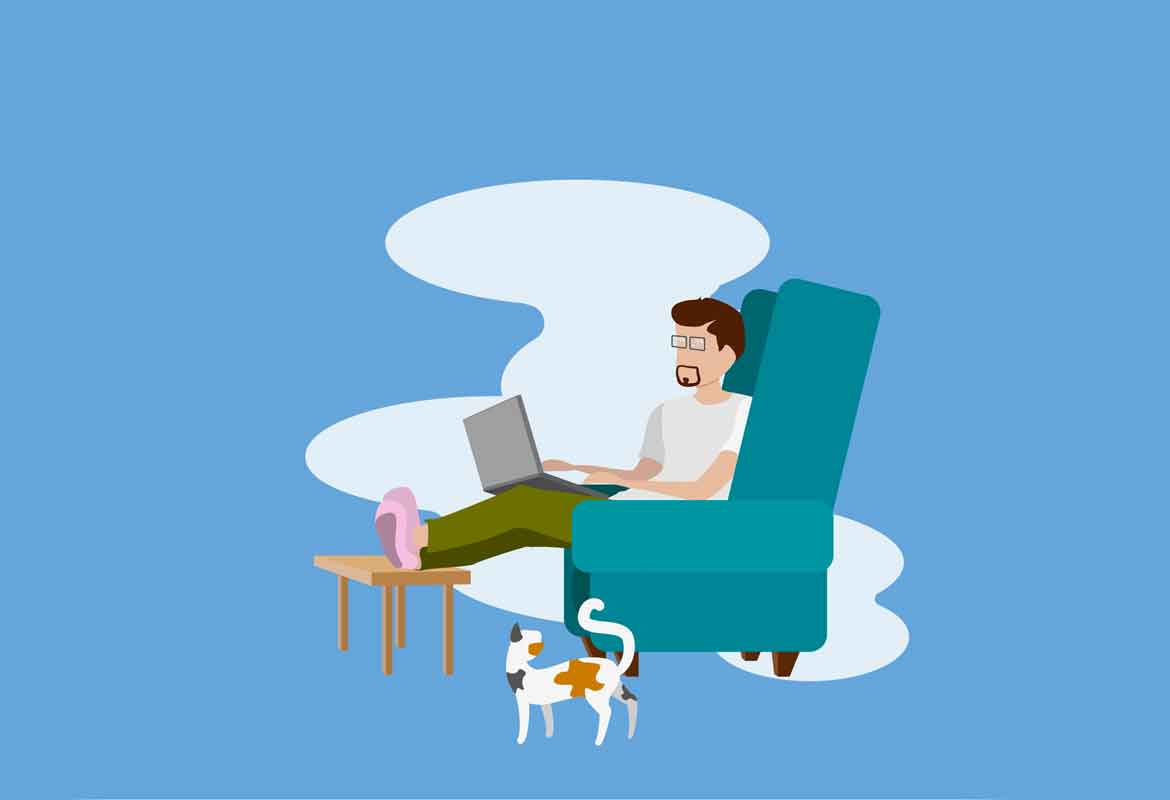 An illustration of a man sat on a sofa with a laptop and his feet on the coffee table