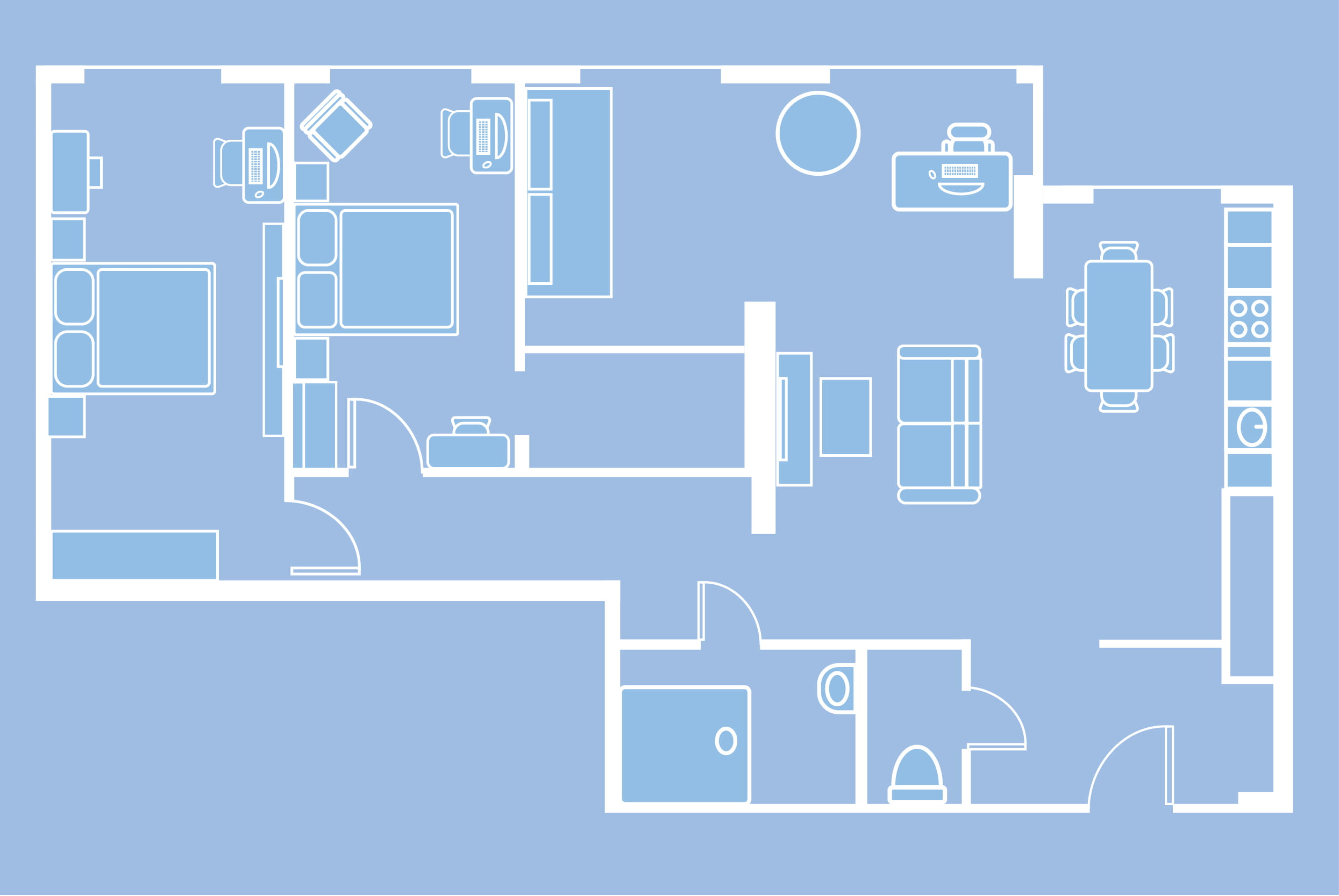 Illustration of an apartment floor plan