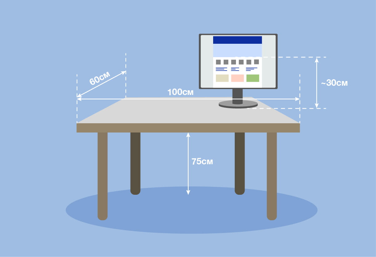 Illustration of a desk and monitor including dimensions