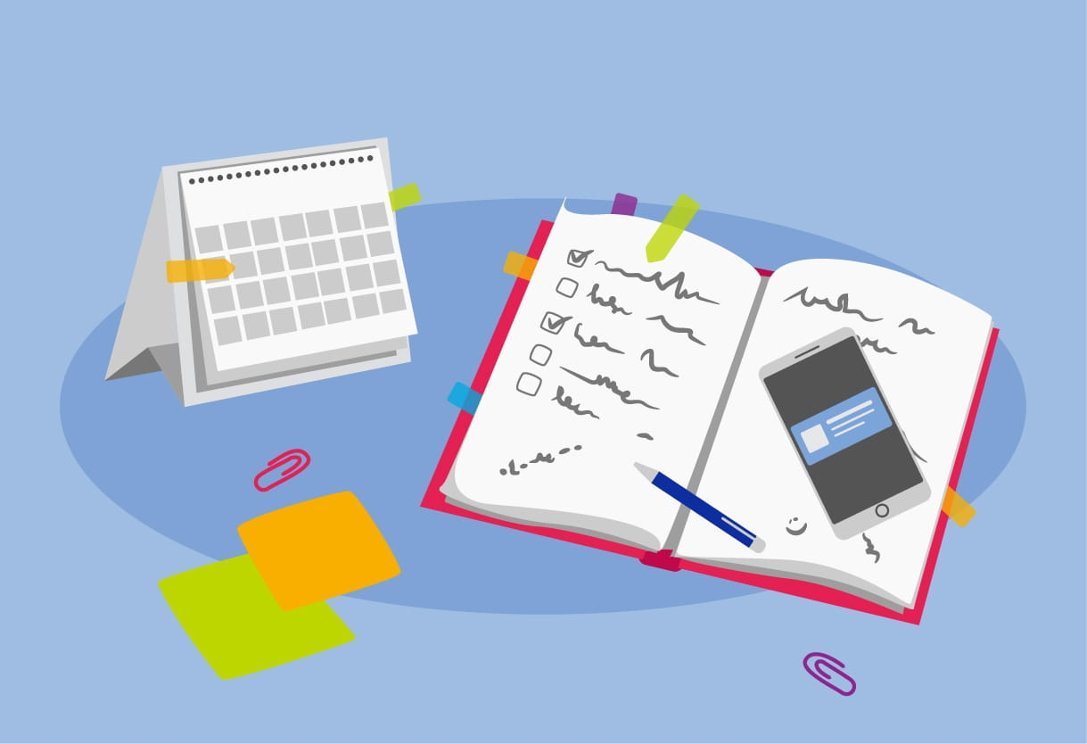 Illustration of a notebook, smartphone, desktop calendar and sticky notes