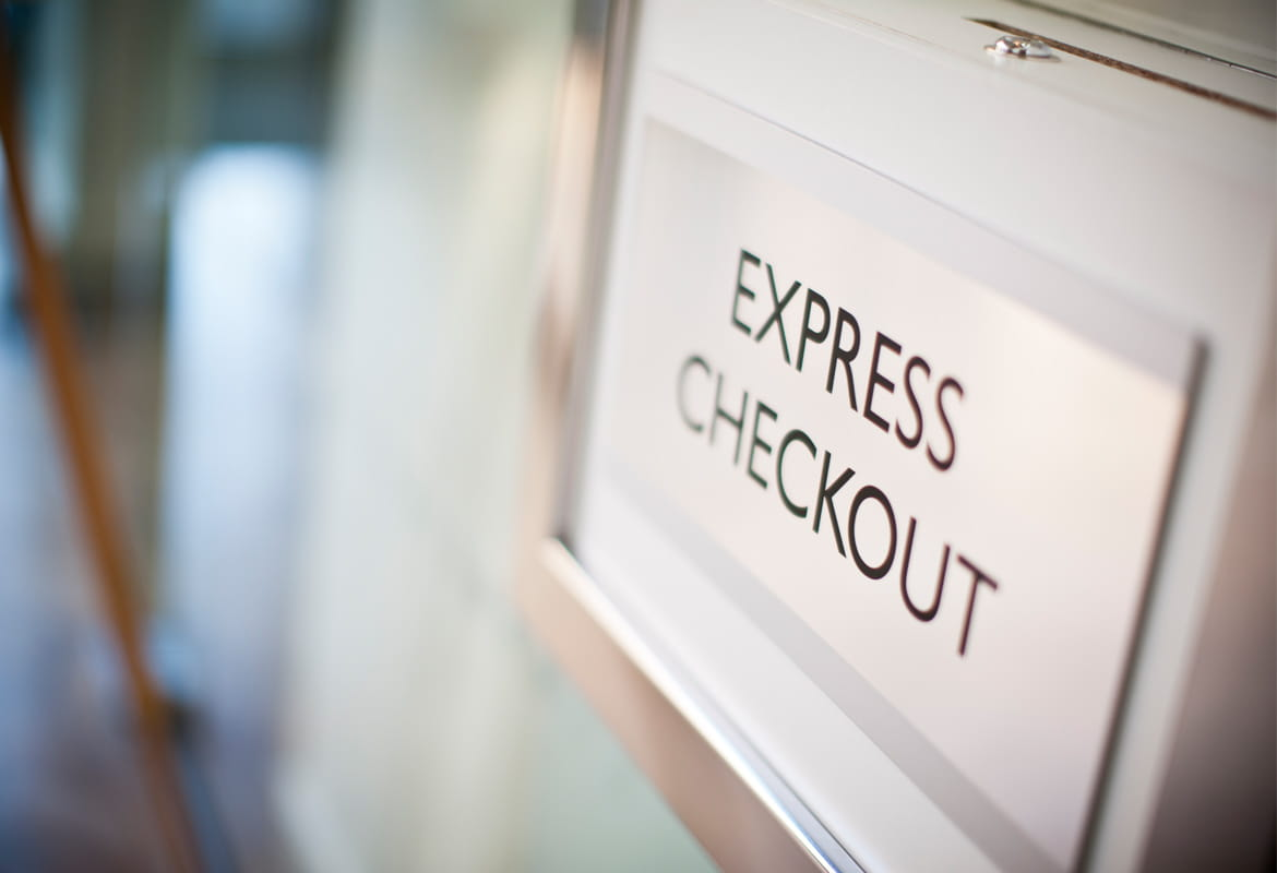 Express checkout hotel sign