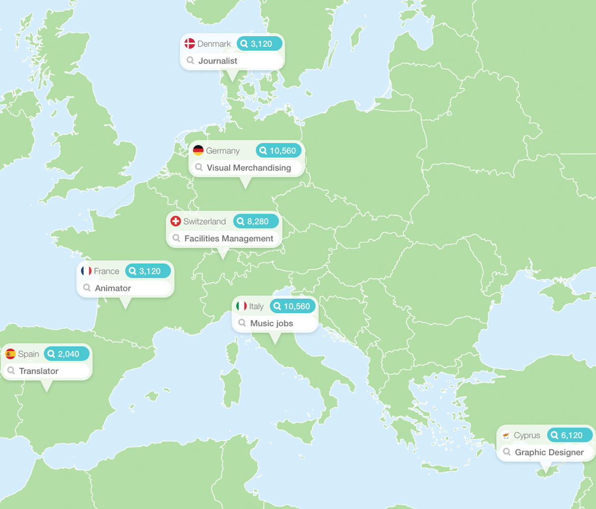 map showing the most searched for jobs in europe