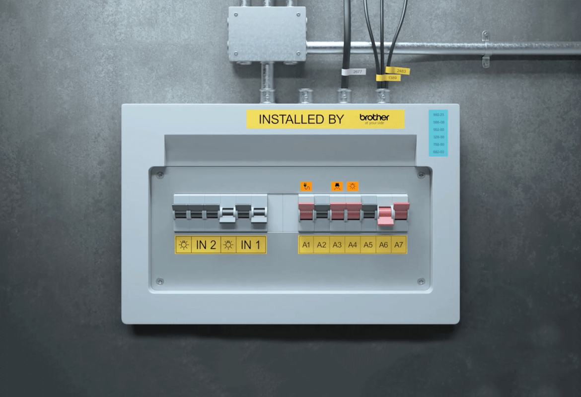 Electrical fuse box with printed labels to identify individual components