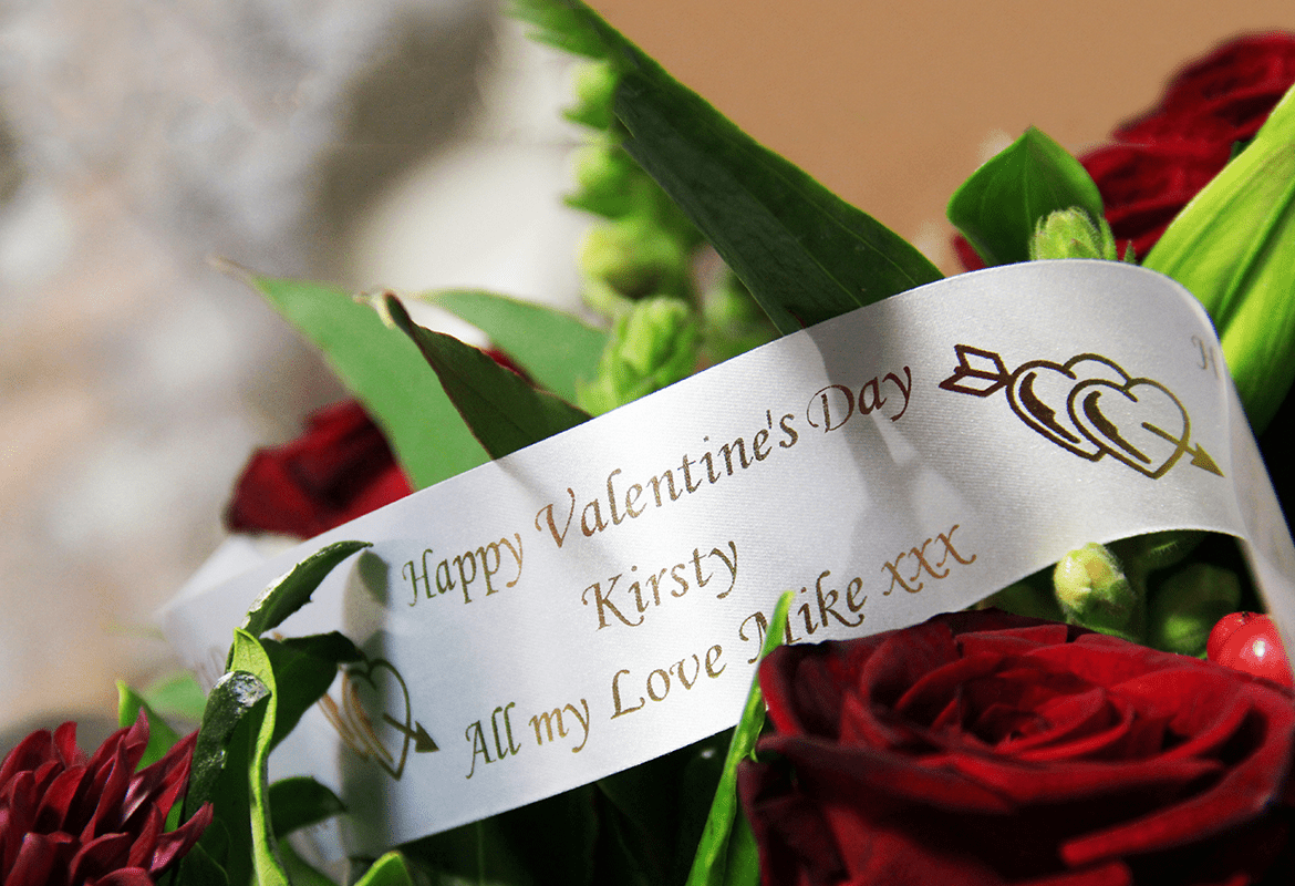 Bouquet of flowers with personalised printed ribbon