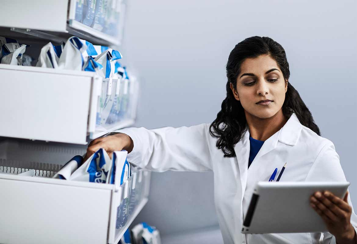 Pharmacist with an iPad