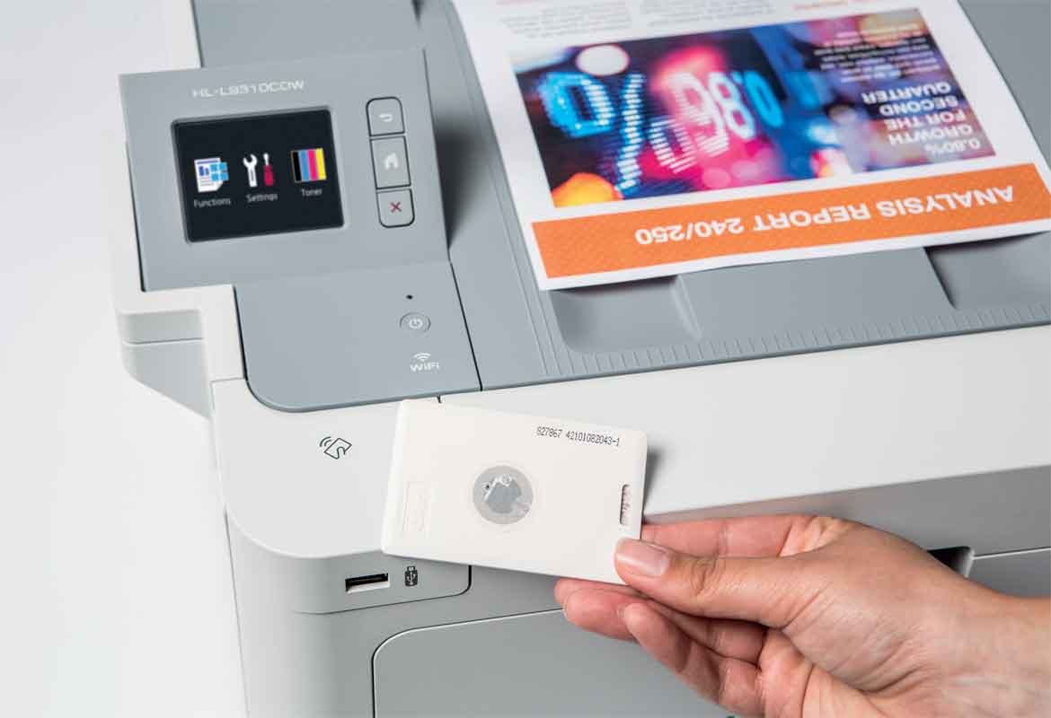 A printer user using the pull printing feature on a HL-L9310CDW