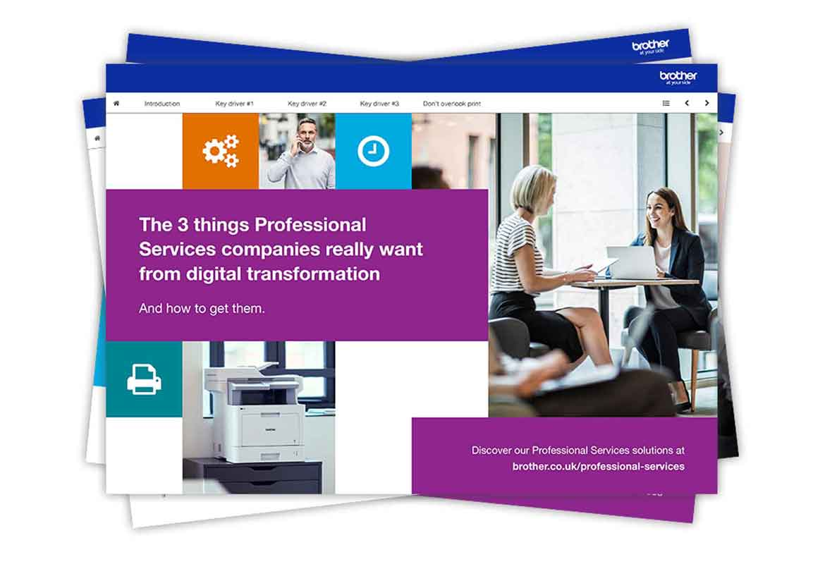 Front cover of the professional services ebook with imagery