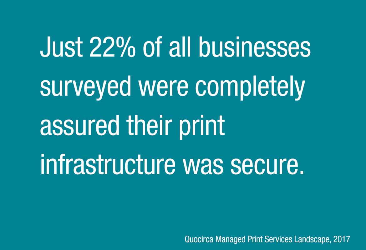 Statistic from the Quocirca Managed Print Services Landscape 2017