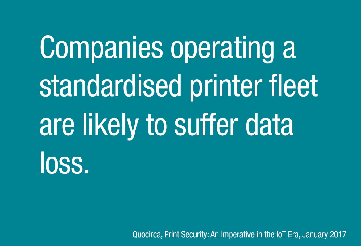 Statistic from Quocirca, Print Security: An imperative in the IoT Era, January 2017
