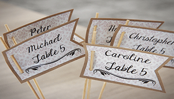wedding table name tags