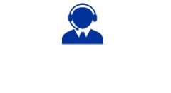 Blue customer service representative icon