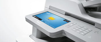 Multifunction printer with network folder customised touchscreen