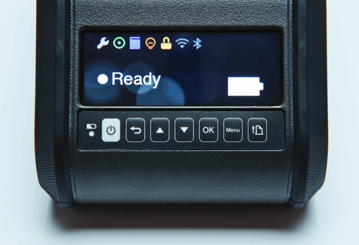 Close-up of Brother RuggedJet mobile printer LCD screen